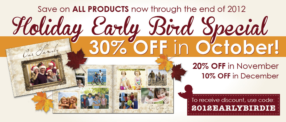 Focus in PIx 2012 Holiday Early Bird Special. Save 30% in October on ALL PRODUCTS!