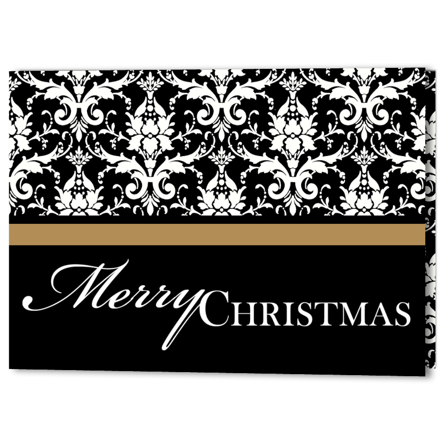 Elegant Damask Christmas Holiday Card