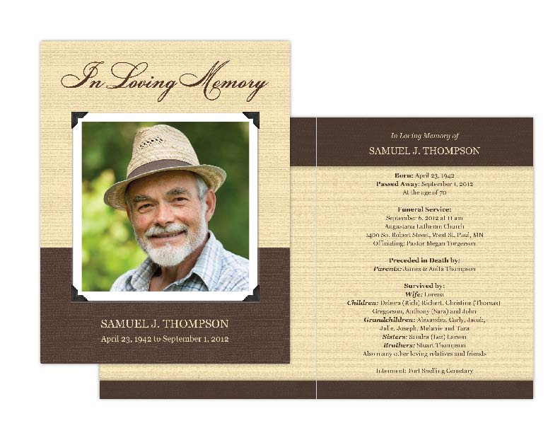 Memorial cards memorial programs and memorial bookmarks for Funeral memory cards free templates