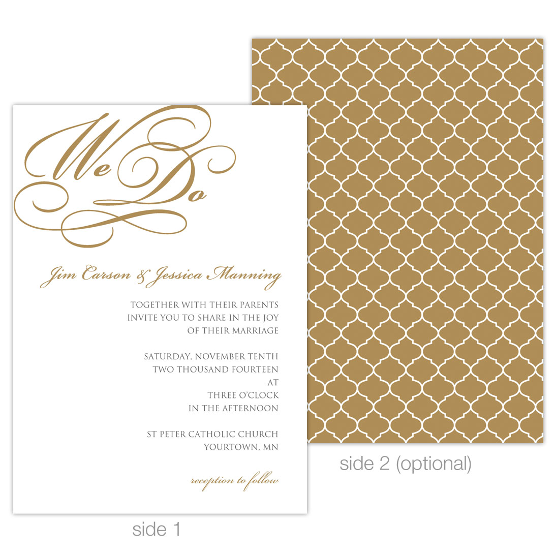 """We Do"" 5x7 Invitation Example 2"