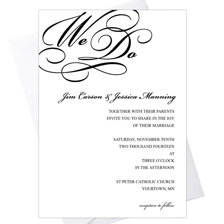 """We Do"" 5x7 Invitation"