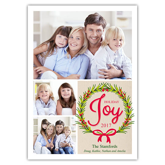 Joy Wreath 5x7 Holiday Christmas Card