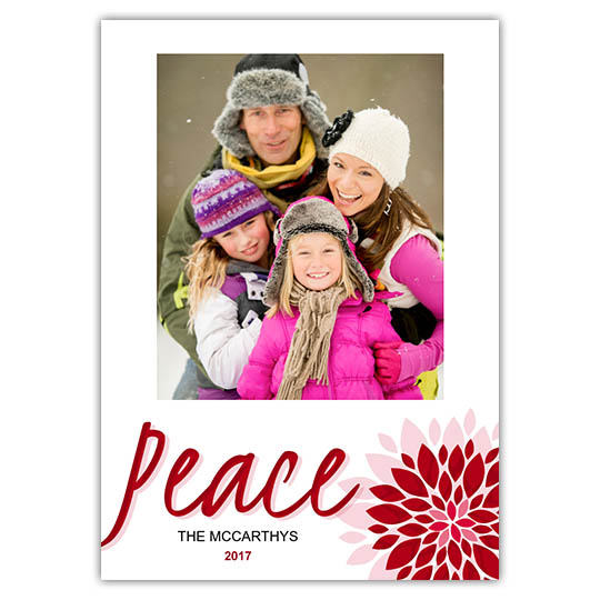 Peace Flower Holiday Christmas Card