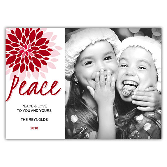 Peace Flower Holiday Christmas Card