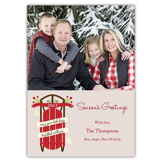 Red Sled Greetings Holiday Christmas Card