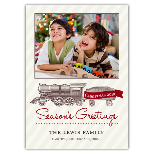 Vintage Train 5x7 Holiday Christmas Card