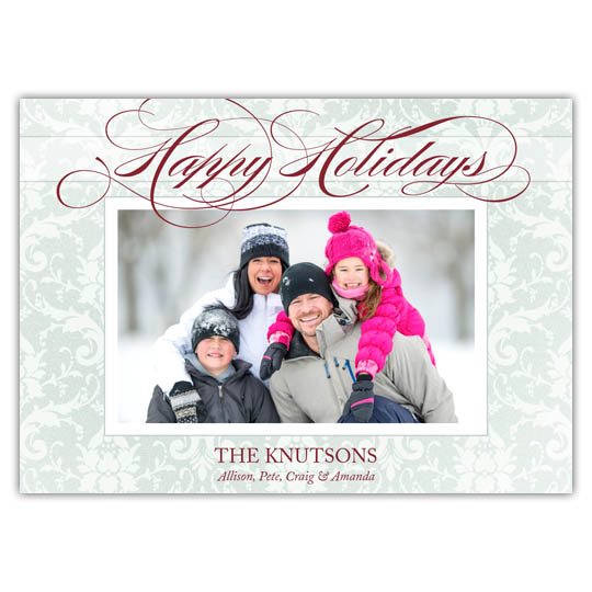 Winter Damask Holiday Christmas Card