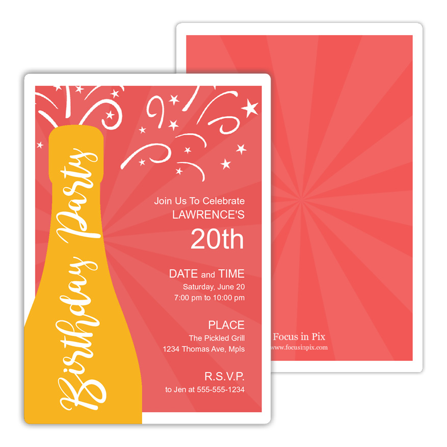 Champagne Burst Birthday Party Invitation from Focus in Pix