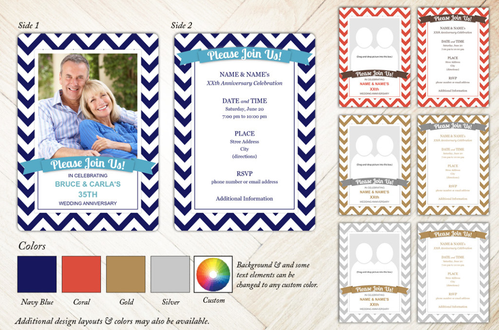 Chevron Banner Anniversary Party Invitation from Focus in Pix