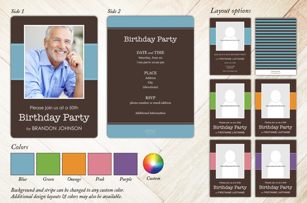 Classic Stripe Birthday Party Invitation from Focus in Pix