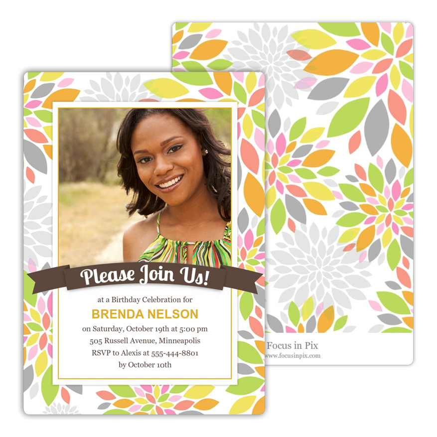 Colorful Peony Birthday Party Invitation from Focus in Pix