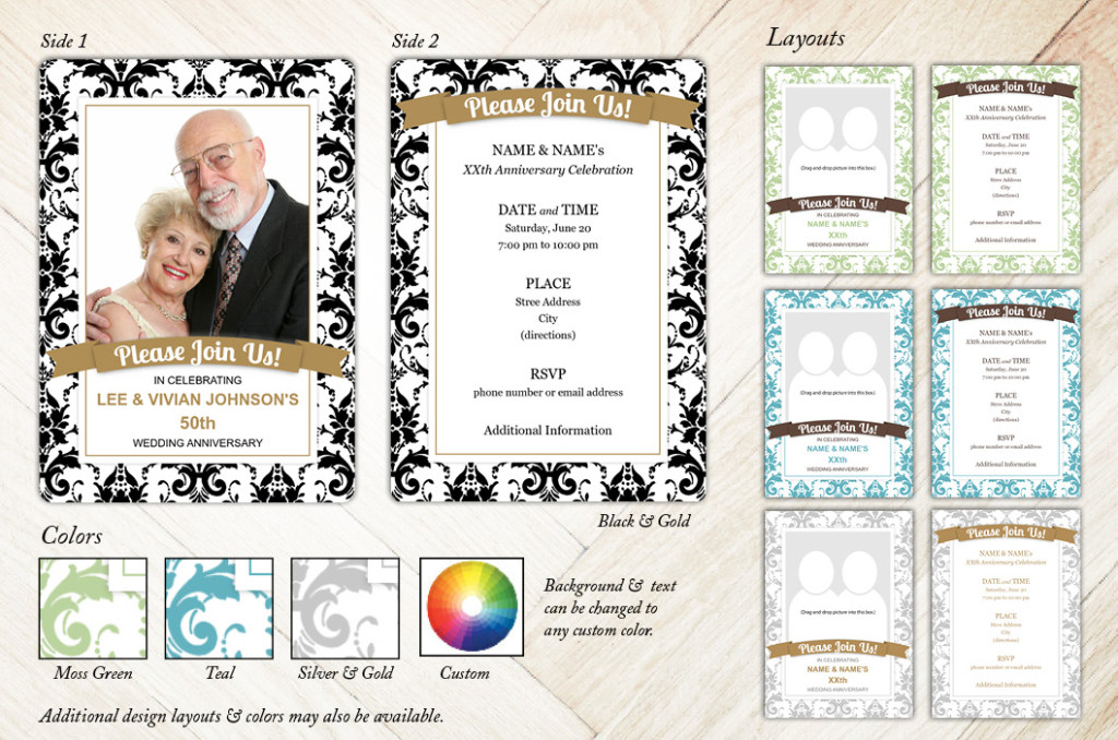 Damask Banner Anniversary Party Invitation from Focus in Pix