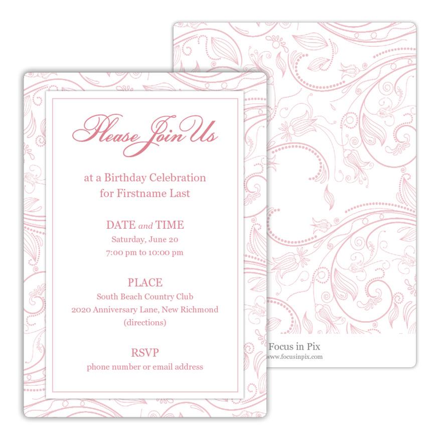 Fleurish Pattern Birthday Party Invitation from Focus in Pix