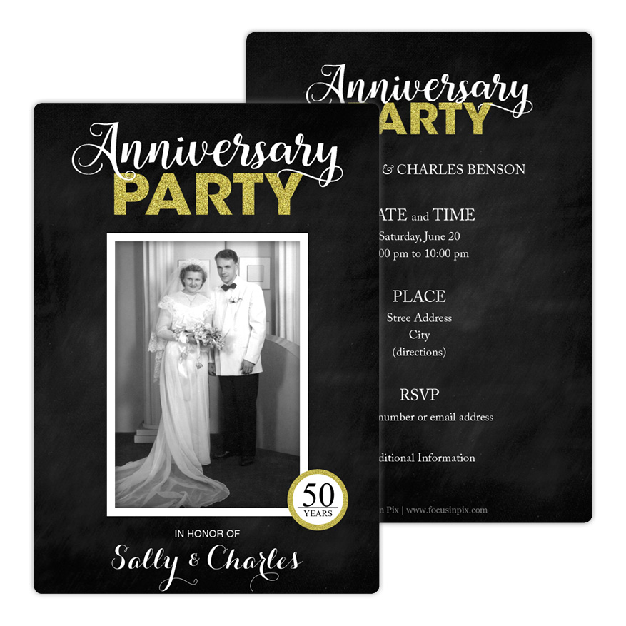 Glitzy Celebration Anniversary Party Invitation from Focus in Pix