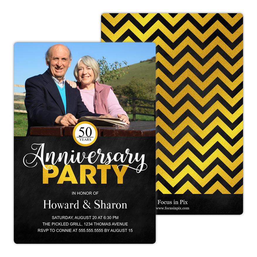 Glitzy Chevron Anniversary Party Invitation from Focus in Pix