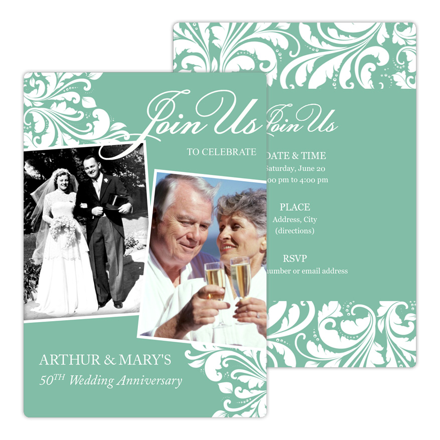 Leaf Motif Anniversary Party Invitation from Focus in Pix