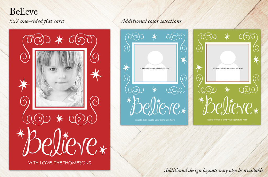 Believe 5x7 Holiday Christmas Card