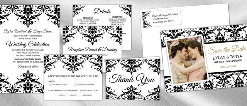 Damask Lace Wedding Invitation Collection