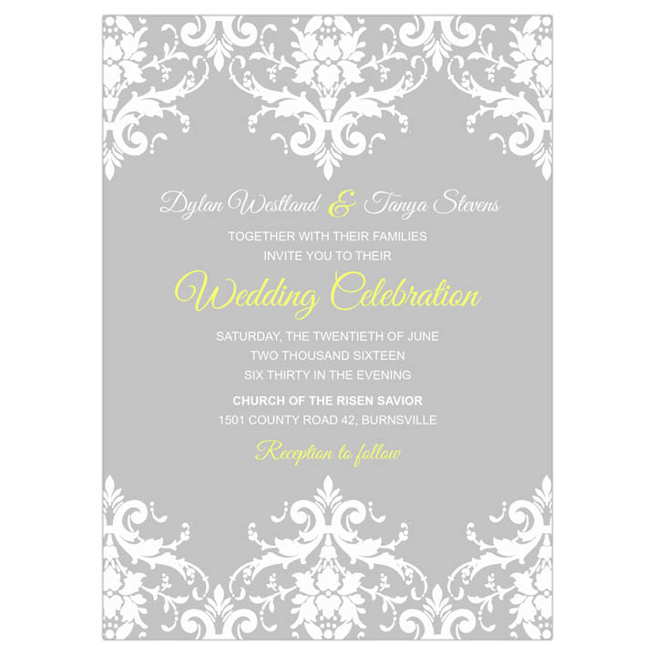 Damask Lace Wedding Invitation