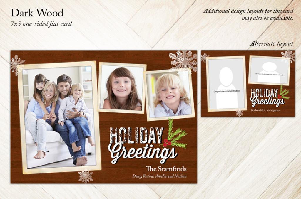 Dark Wood Christmas Holiday Card