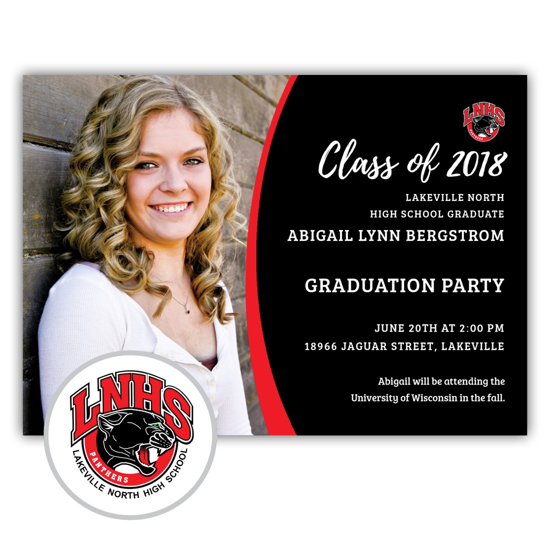 School Spirit, Lakeville North - Focus in Pix Graduation Party Invitation or Announcement