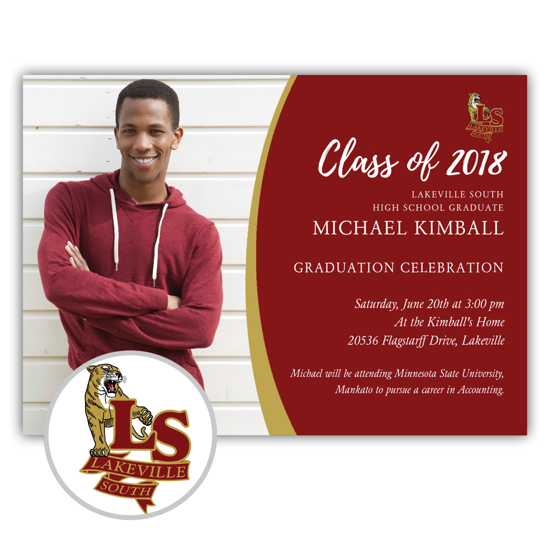 School Spirit, Lakeville South - Focus in Pix Graduation Party Invitation or Announcement