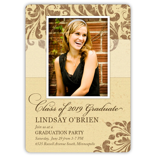 Leaf Motif Burlap Graduation Invite or Announcement