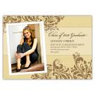 Leaf Motif Burlap Graduation Invite or Announcement