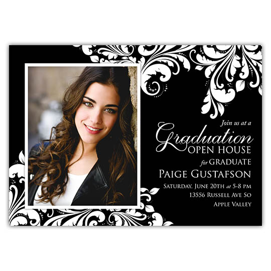 Leaf Motif (Solid) Graduation Invitation and Announcement