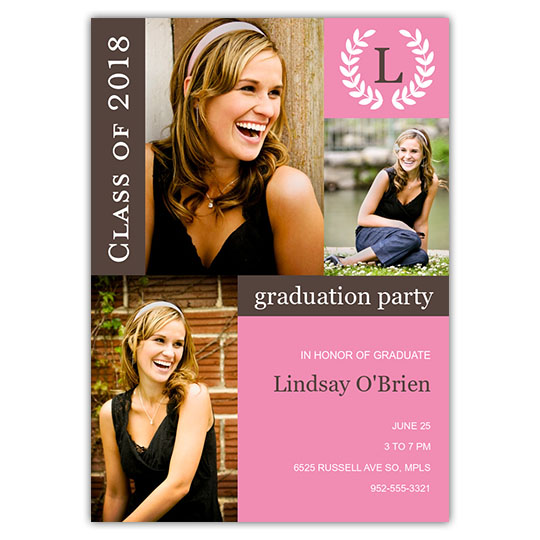 Graduation invitations and announcement cards monogram blocks focus in pix graduation card filmwisefo