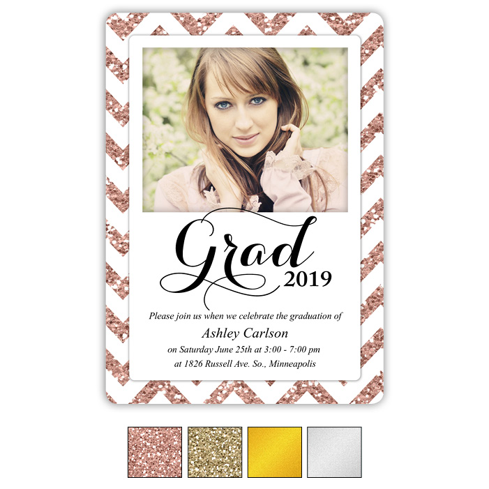 Zigzag Metallic - Focus in Pix Graduation Card
