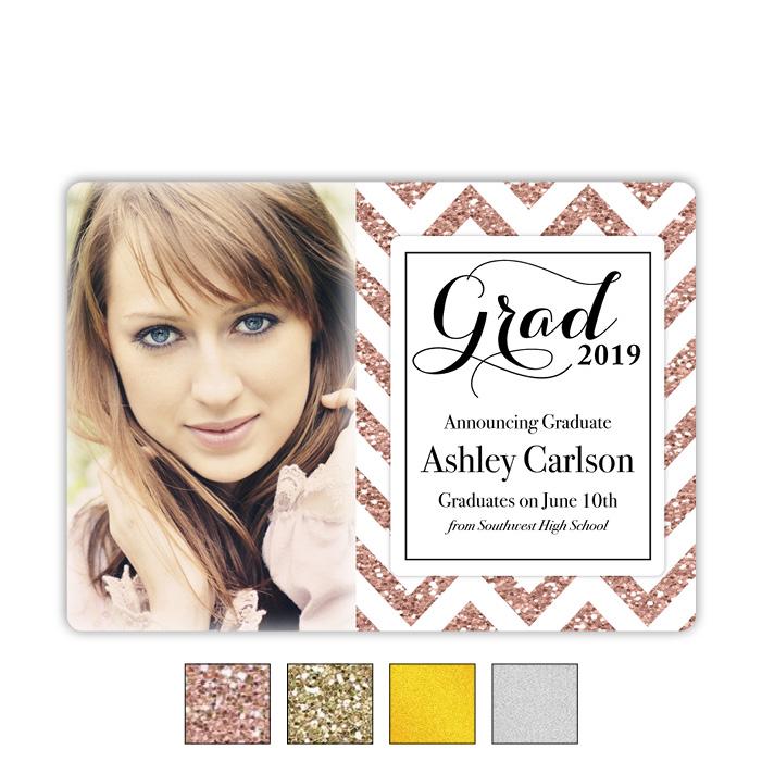 Zigzag Metallic - Focus in Pix Graduation Card