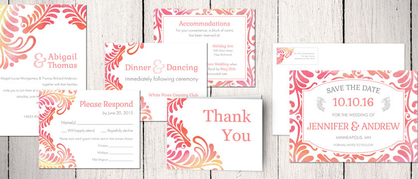 Fleur Scrolls Wedding Invitation Collection