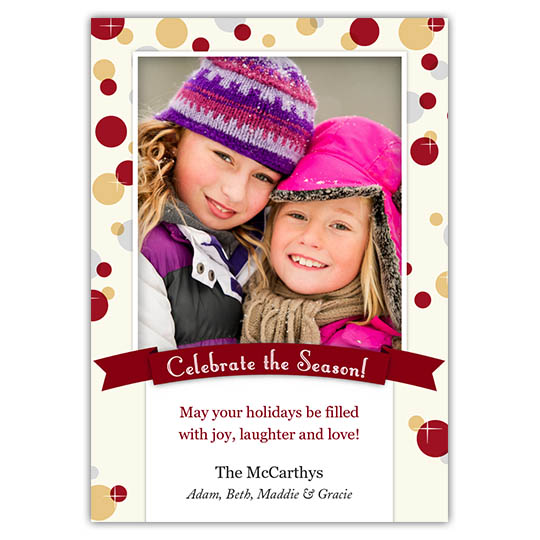 Gleaming Bubbles 5x7 Holiday Christmas Card