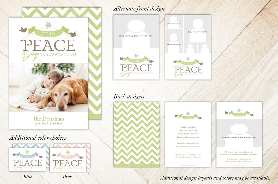 Peace Joy Birds Holiday Christmas Card