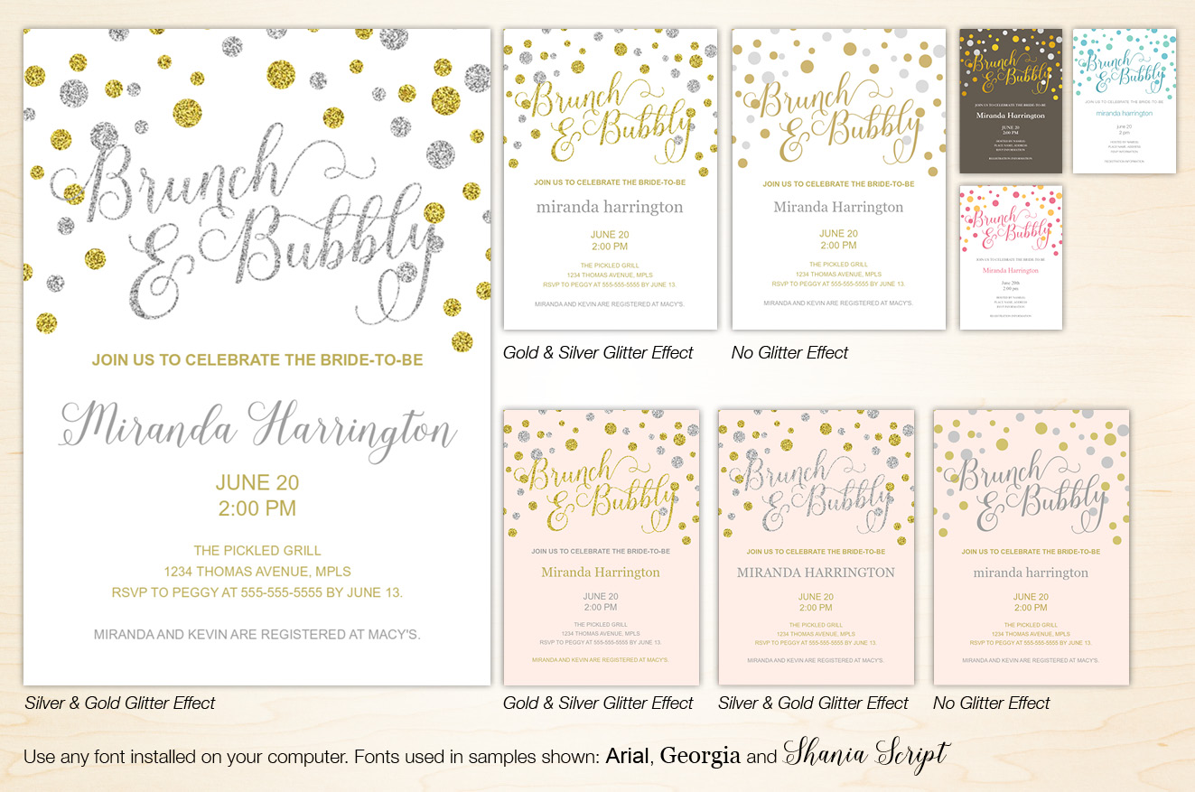 Brunch Bubbly Gold and Silver Glitter