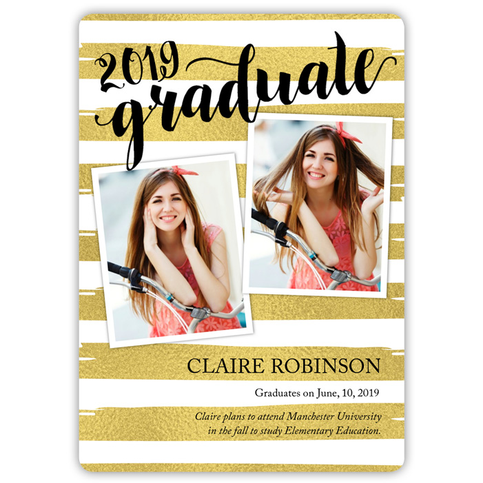 Painted Foil Stripes - Focus in Pix Graduation Card