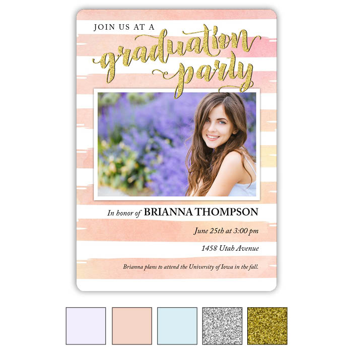 Watercolor Stripes - Focus in Pix Graduation Card