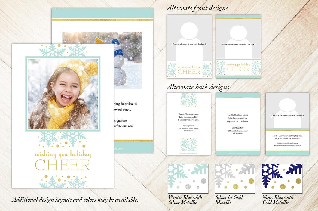 Cheerful Snowflakes Holiday Christmas Card