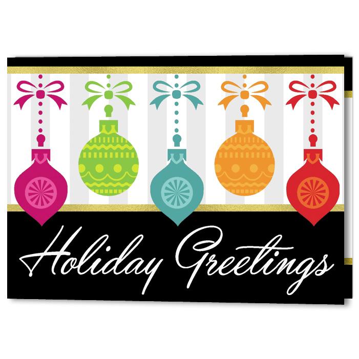 Harlequin Ornaments Customizable Holiday Christmas Card