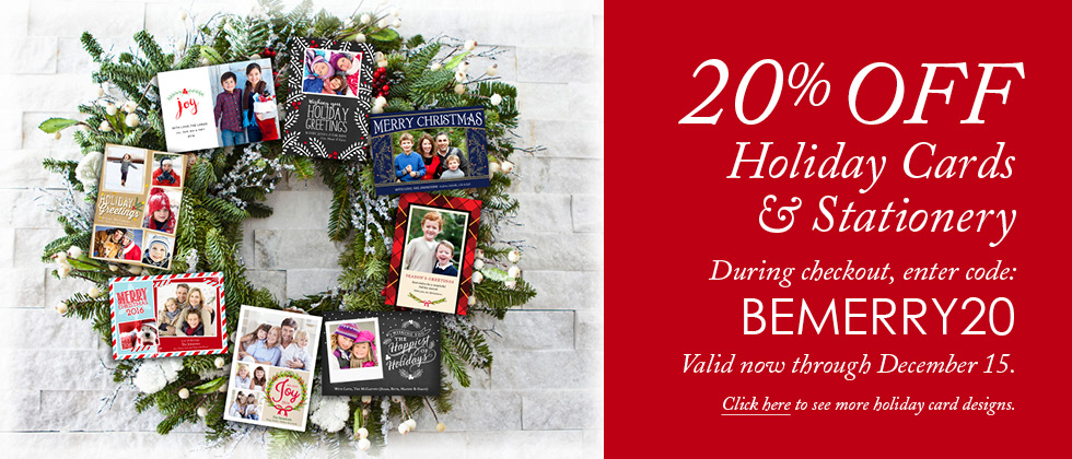 20% Off Holiday Christmas Cards, now until December 16 2016
