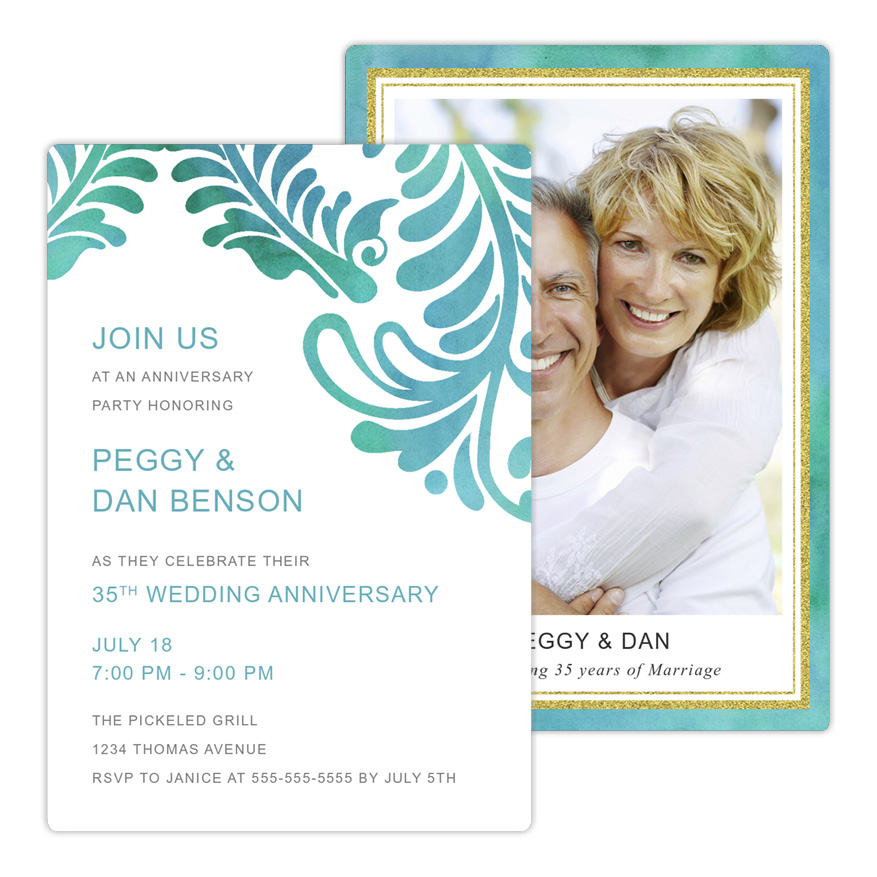 Fleur Scrolls Watercolor Anniversary Party Invitation from Focus in Pix