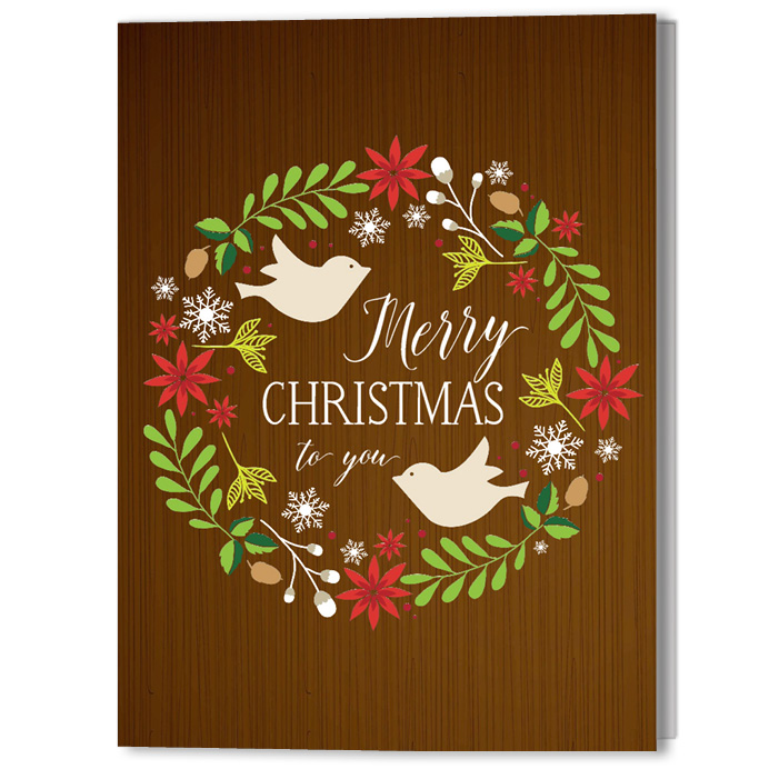 Wreath with Birds 5x7 Holiday Christmas Card