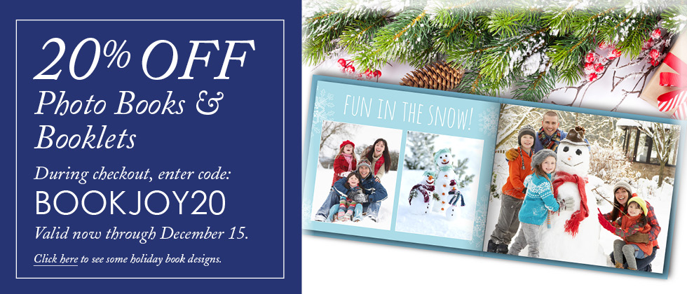20% Off Photo Books and Booklets, now until December 15 2016