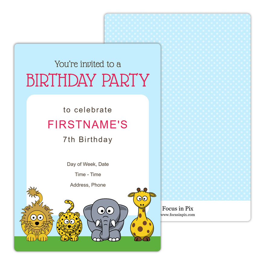 Animal Party Birthday Invitation
