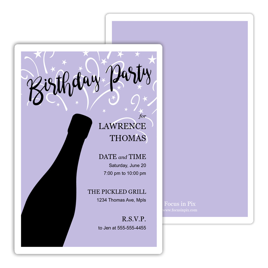 Champagne Pop Birthday Party Invitation from Focus in Pix