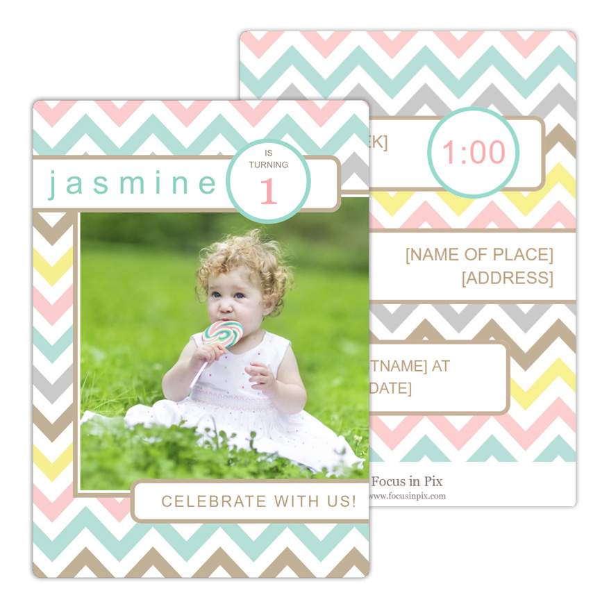 Chevron Pastel Birthday Party Invitation