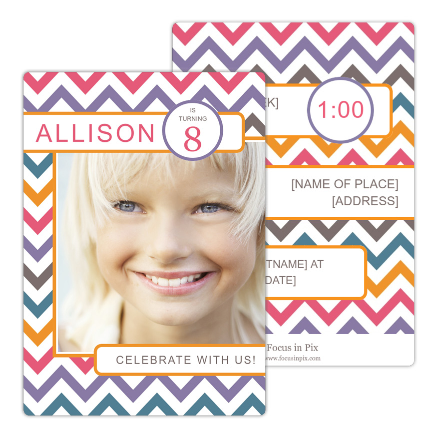 Chevron Brights Birthday Invitation