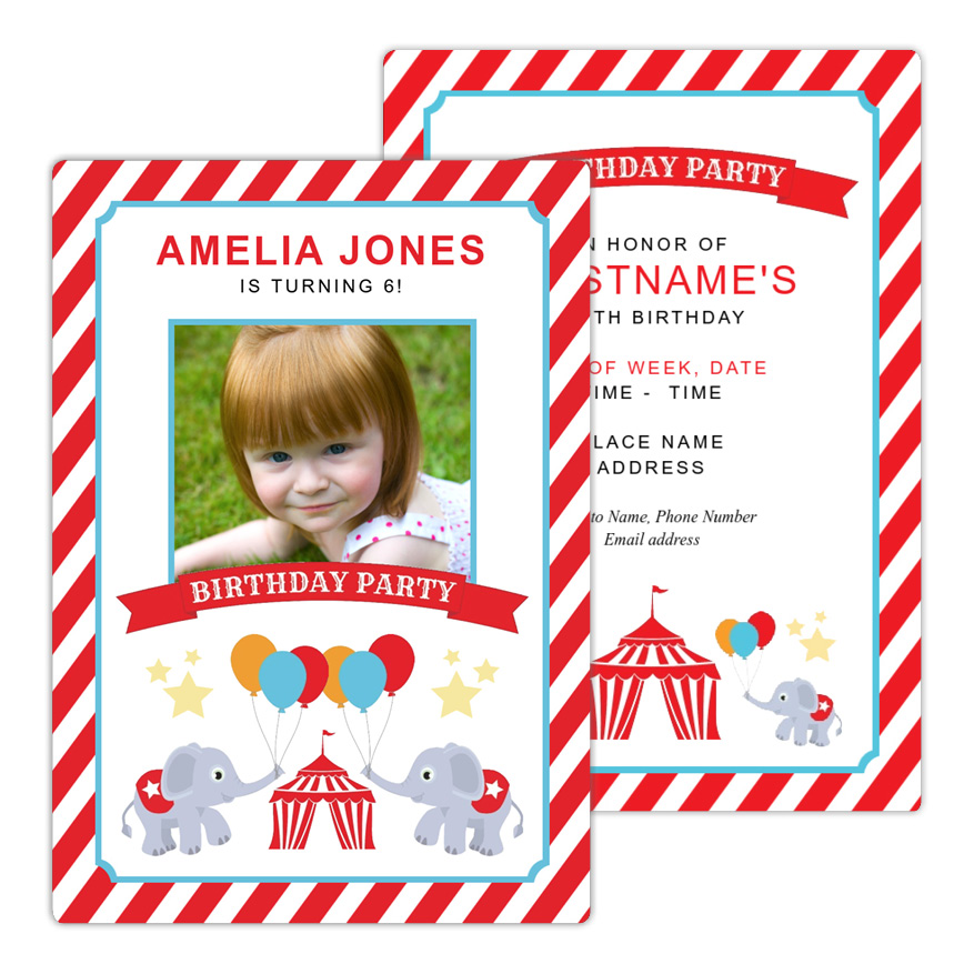 Circus Elephants Birthday Party Invitation