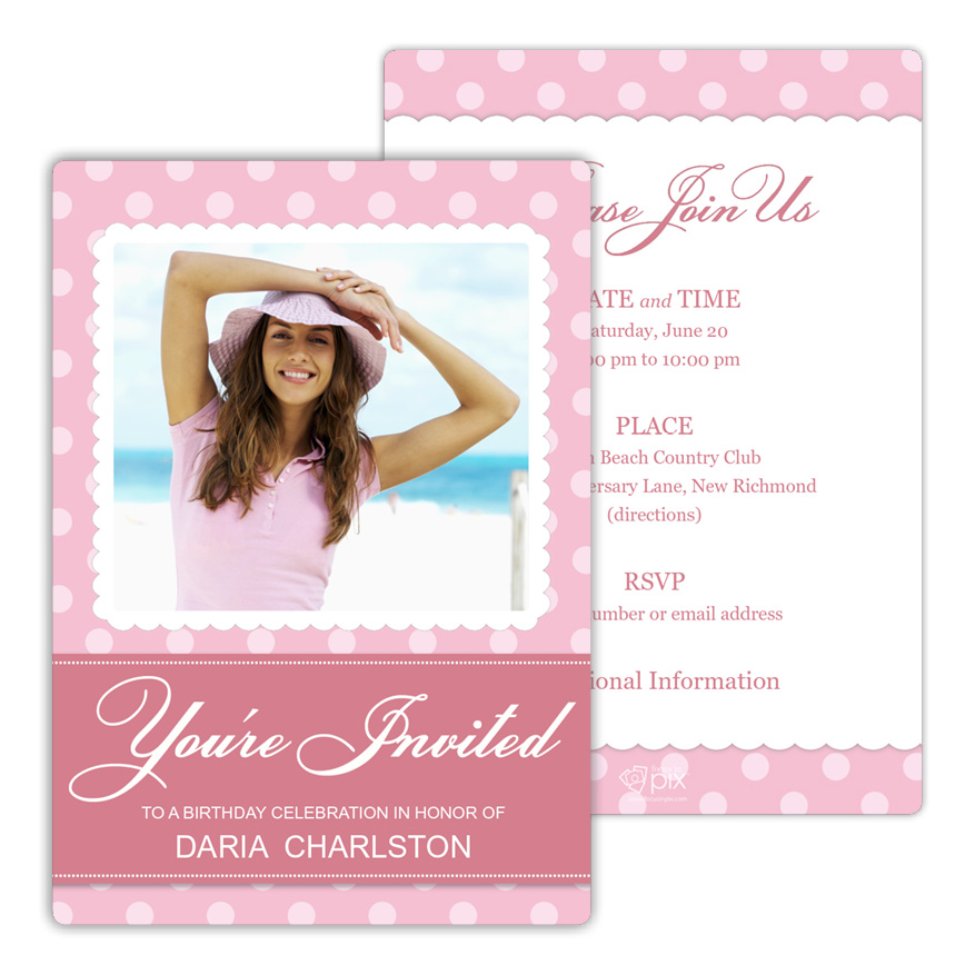 Classic Polka Dots Birthday Party Invitation from Focus in Pix
